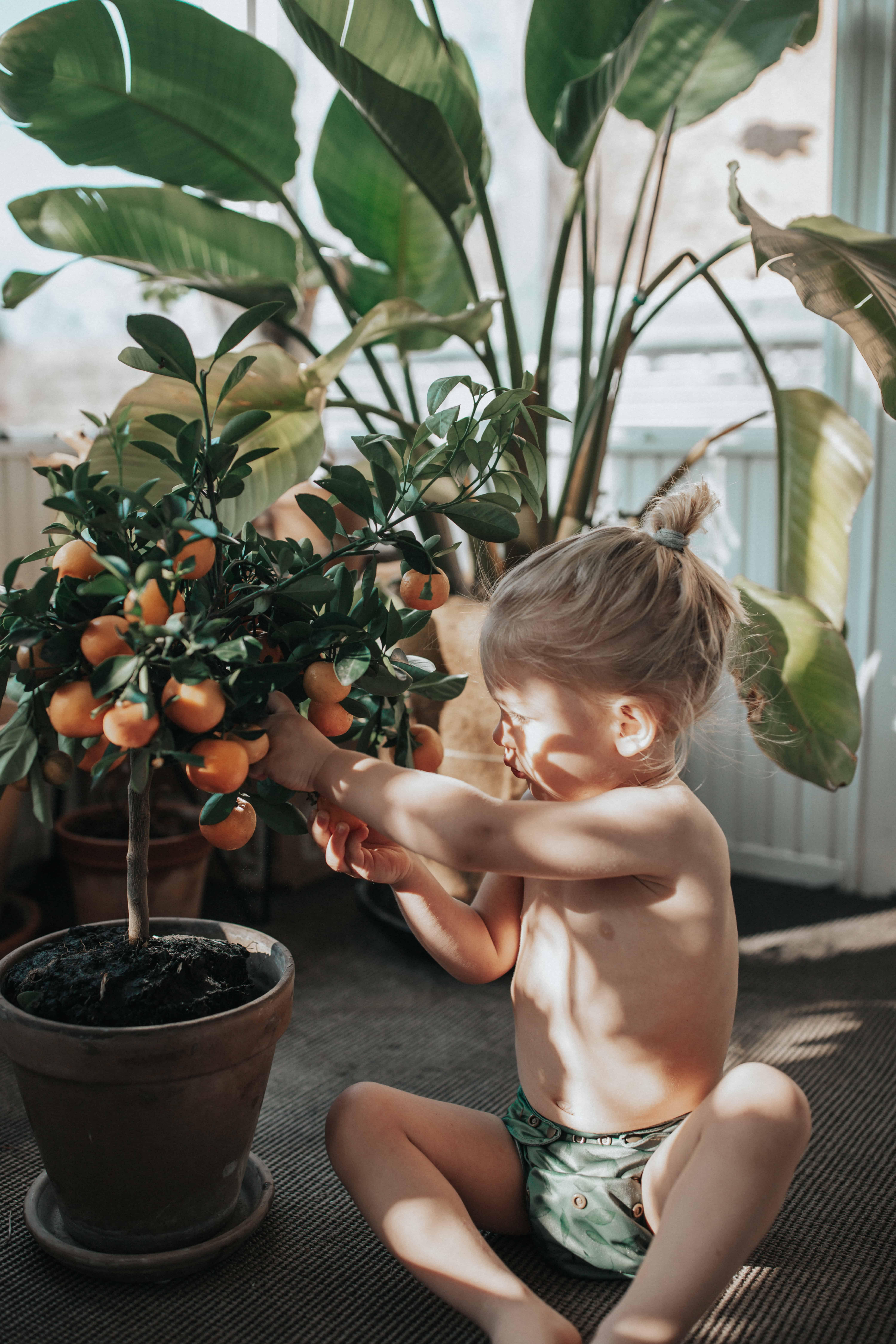 Boy with cloth diaper twigs